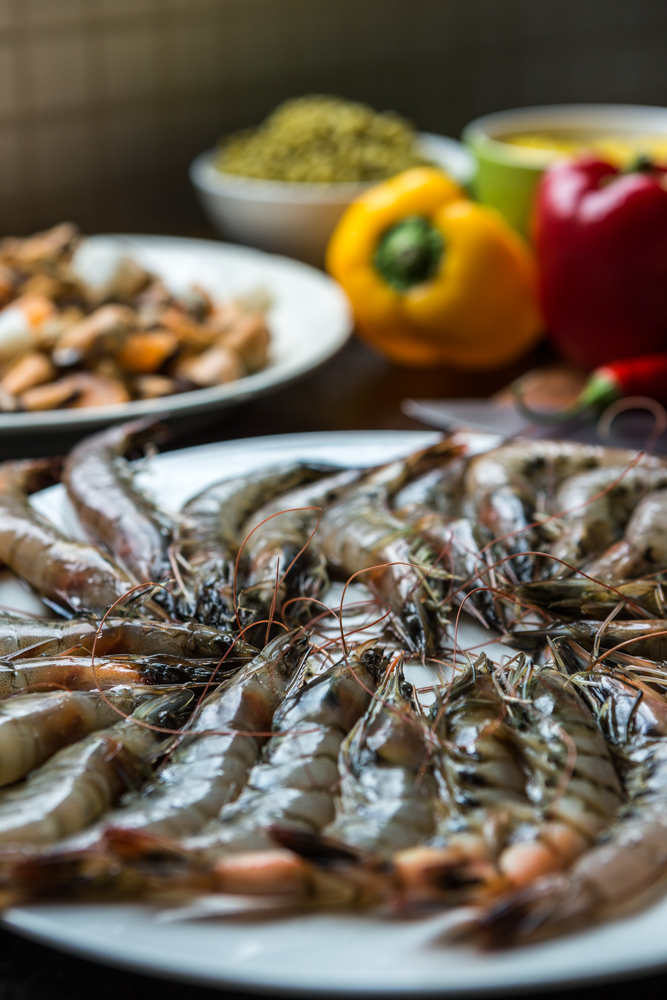 ingrediënten, paella, garnalen, fruit de mer, paprika